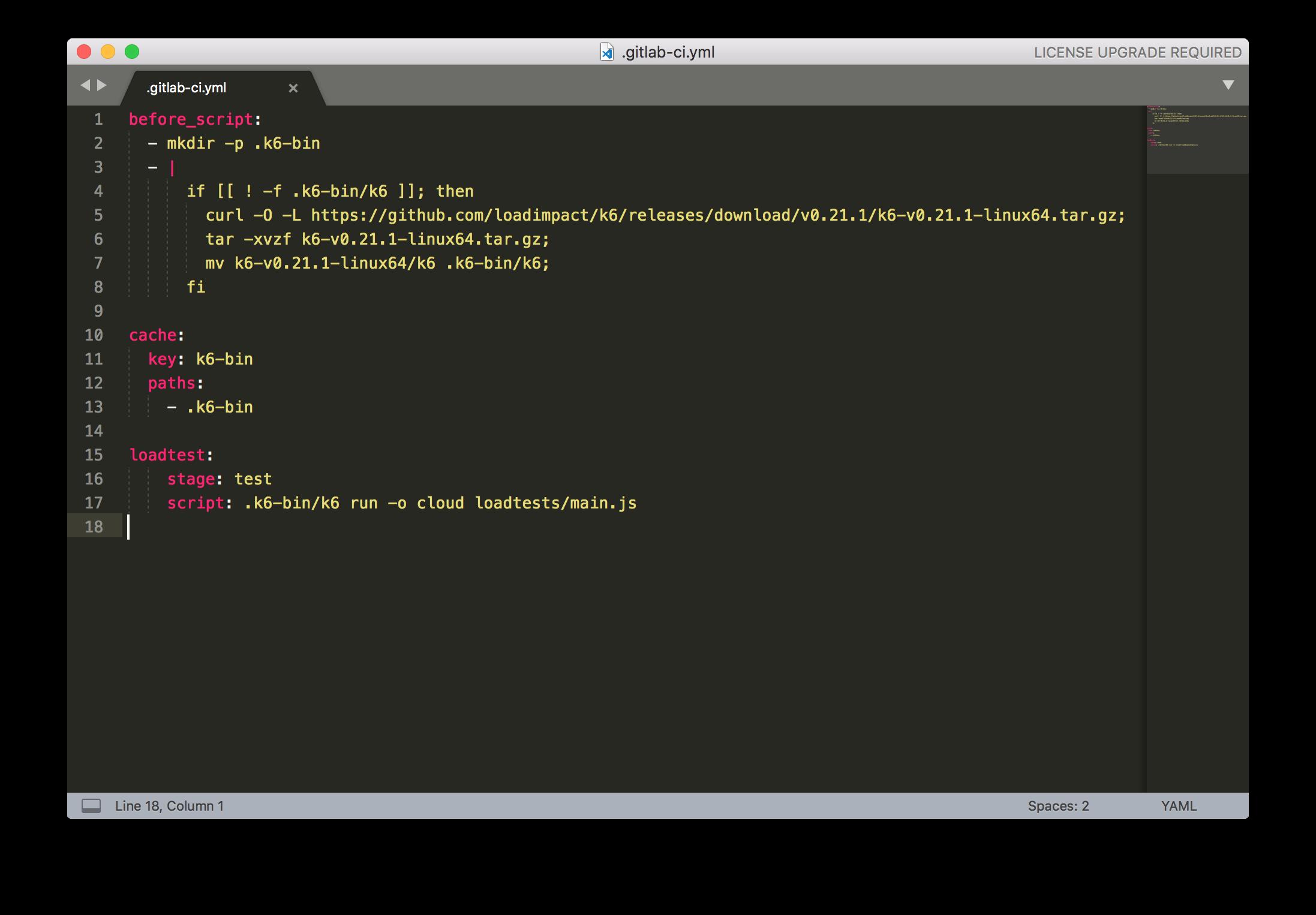 k6 GitLab CI YAML configuration file
