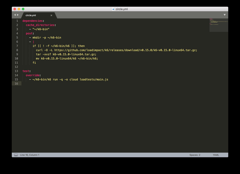 k6 CircleCI YAML configuration file
