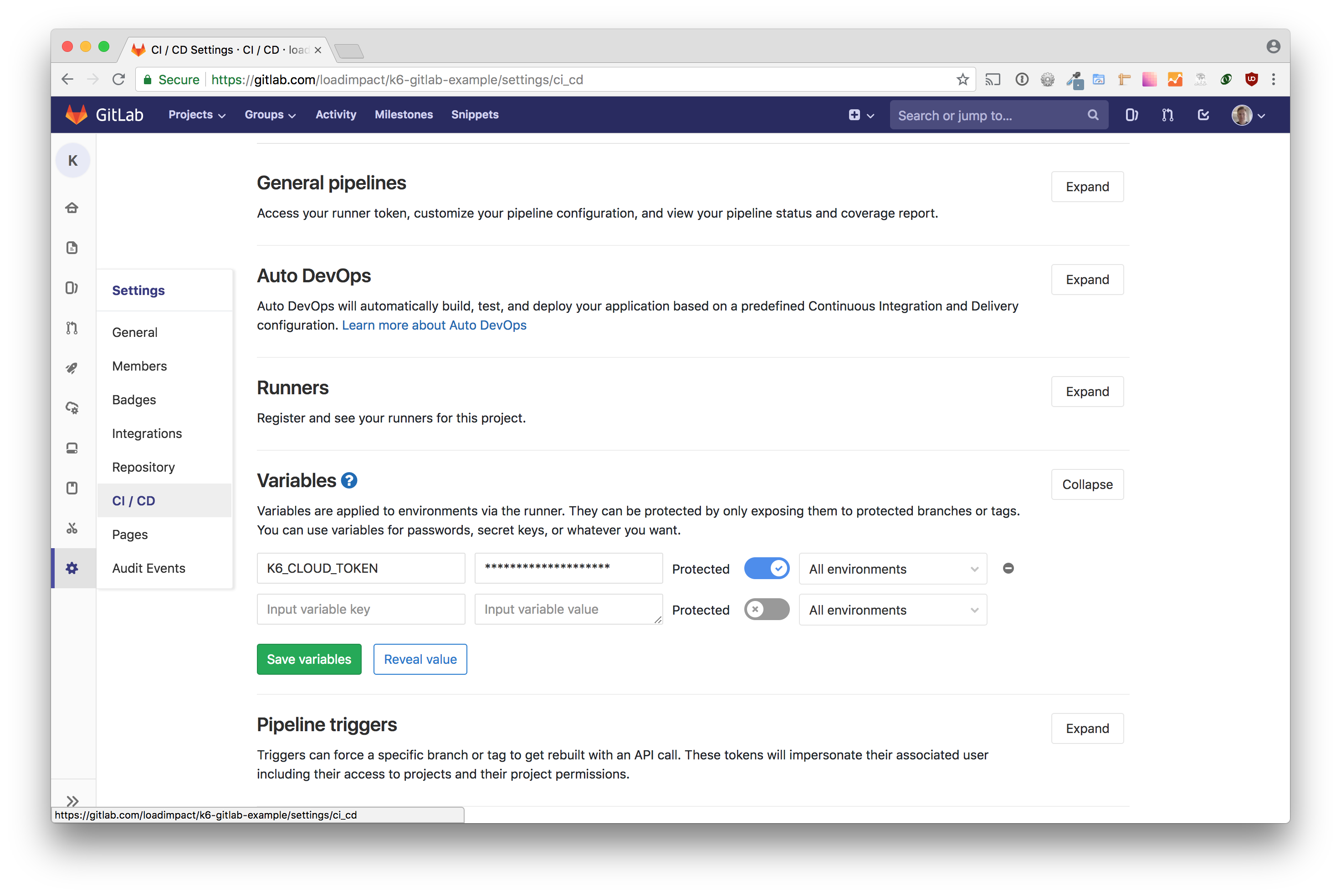 k6 GitLab environment variables