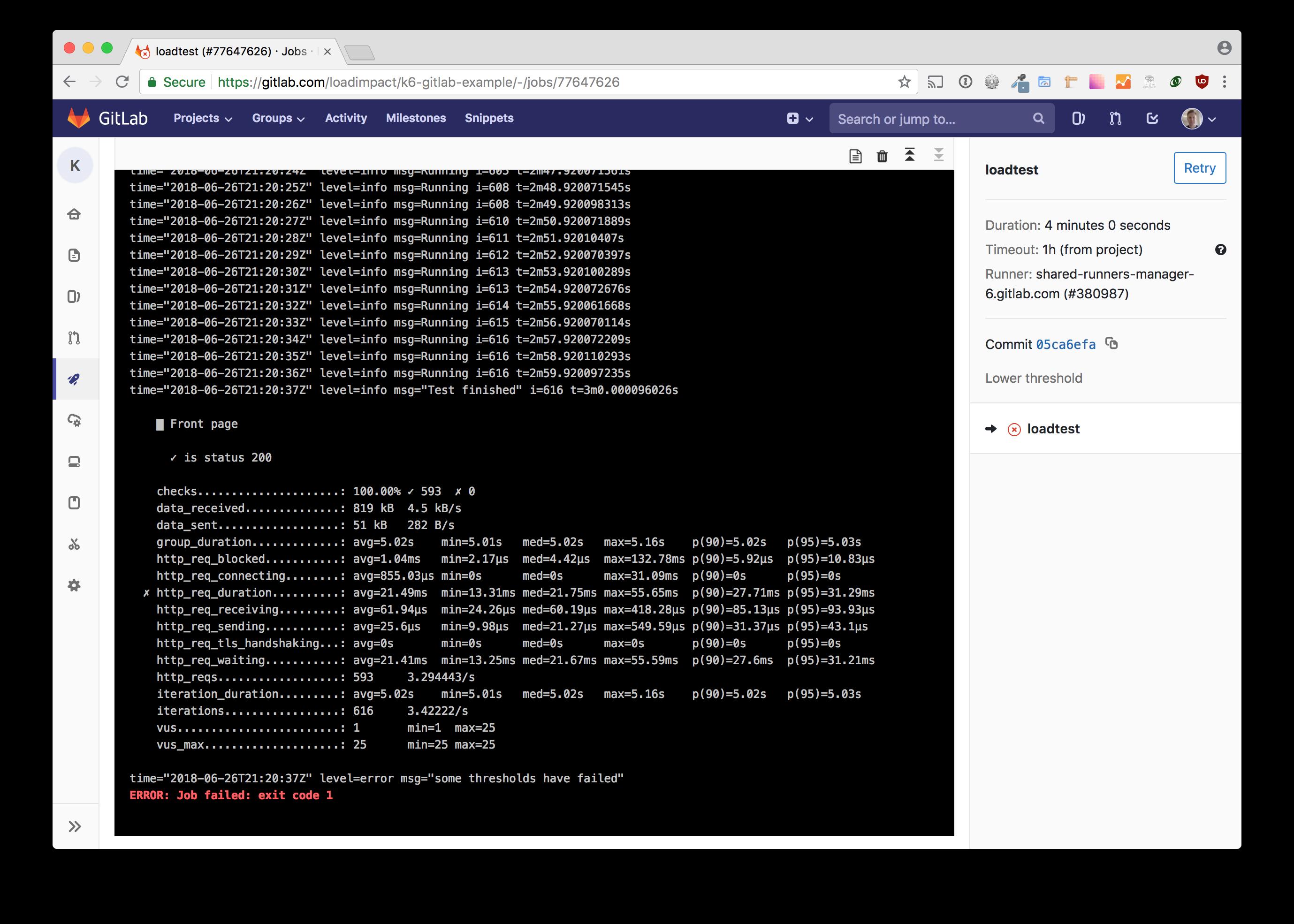 k6 load test triggered by GitLab CI